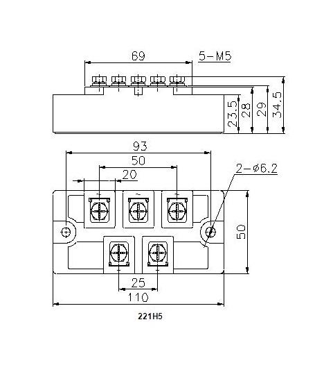 功率半导体模块 单相/三相整流桥模块   mds50 600-1600 50 100 0.